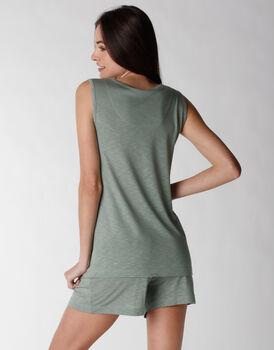 Smanicato del pigiama in viscosa, verde, , LOVABLE