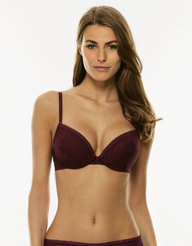 Reggiseno push up con ferretto amaranto in pizzo elastico-LOVABLE