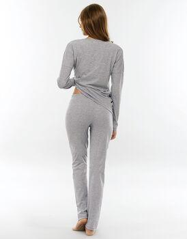 Pigiama manica e gamba lunga, grigio mélange in jersey di cotone-LOVABLE