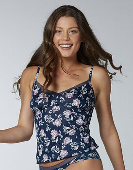 Top in modal, stampa floreale su blu, , LOVABLE