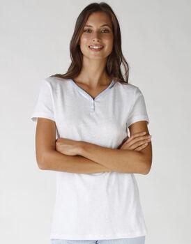 Casacca corta in jersey, cotone e lino, colore lightblue e white, , LOVABLE