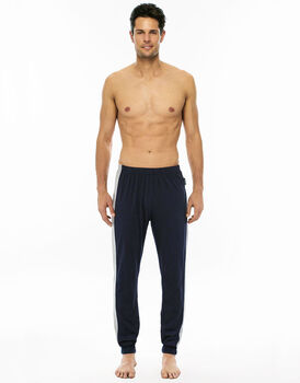 Pantalone lungo blu navy in jersey con coulisse in vita-LOVABLE