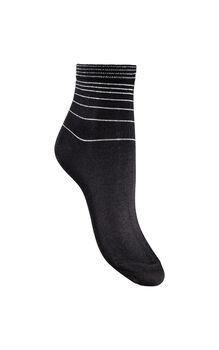 Calza donna corta nero in cotone, poliammide, fibra metallizzata ed elastane-LOVABLE