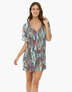 Caftano stampa animalier in chiffon-LOVABLE