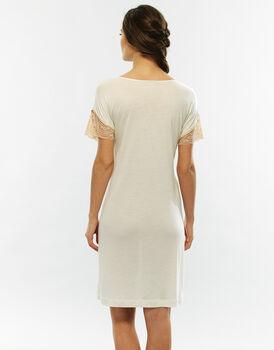 Camicia da notte manica corta, skin e avorio, in modal-LOVABLE