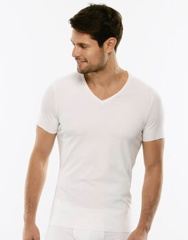 T-shirt in cotone elasticizzato, bianca, , LOVABLE