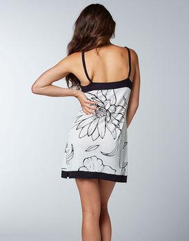 Camicia da notte 100% modal, bianca con stampa a fiori nera, , LOVABLE
