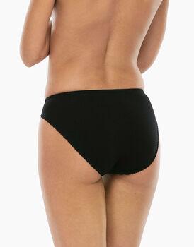 Slip mini sgambato Lovely charme nero in cotone elasticizzato con pizzo-LOVABLE