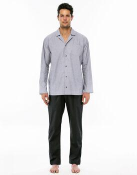 Pigiama manica e gamba lunga grigio medio in jersey di cotone aperto-LOVABLE