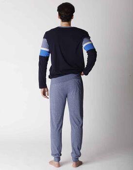 Pigiama uomo lungo in jersey, blu melange, , LOVABLE