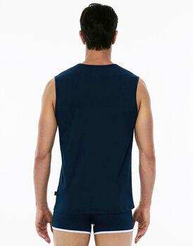 Smanicato scollo a V, blu navy, in cotone elasticizzato-LOVABLE