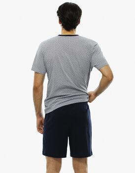 Pigiama manica e gamba corta grigio ghiaccio stampato in jersey  , , LOVABLE
