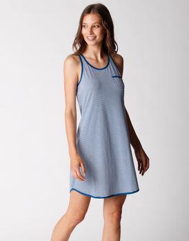 Camicia da notte smanicata, in jersey di cotone, righe blu oltremare, , LOVABLE