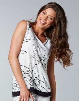 Top smanicato pigiama maniche corte in modal, bianco stampa a fiori, , LOVABLE