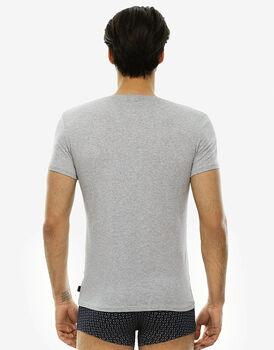 T-shirt manica corta grigio melange in cotone elasticizzato-LOVABLE