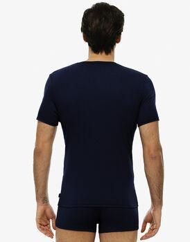 T-shirt manica corta blu navy in cotone modal a costine con scollo a V-LOVABLE