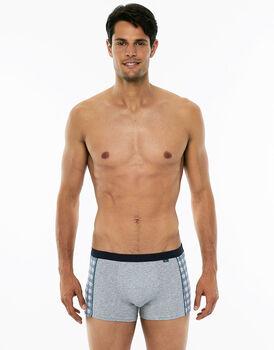 Short Boxer grigio melange in cotone elasticizzato-LOVABLE