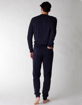 Pigiama uomo lungo in jersey 100% cotone, blu notte con stampa, , LOVABLE