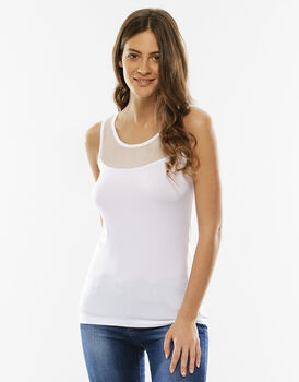 Top Basic Soul, bianco, in microfibra con tulle-LOVABLE