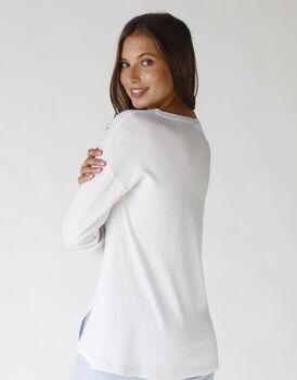 Casacca lunga in jersey, cotone e lino, colore lightblue e white, , LOVABLE