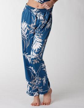 Pantaloni del pigiama donna in satin, stampa foliage, , LOVABLE