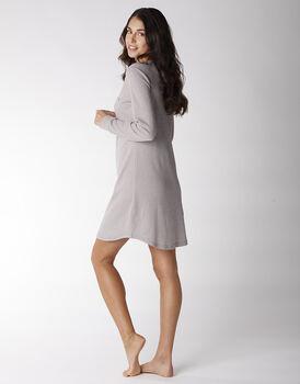 Camicia da notte manica lunga in 100% cotone, righe marroni e avorio, , LOVABLE