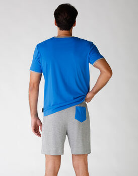 Pigiama uomo manica e gamba corta, in jersey, blu brillante, , LOVABLE