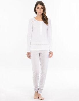 Pigiama manica e gamba lunga bianco in jersey cotone fiammato e stampato con serafino profondo-LOVABLE