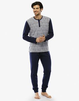 Pigiama manica e gamba lunga grigio melange stampato in jersey con taschino-LOVABLE