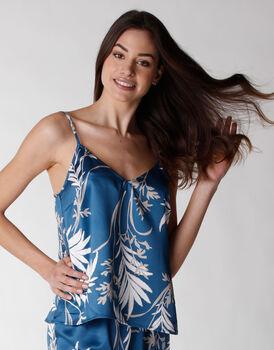 Top del pigiama donna in satin, stampa foliage, , LOVABLE