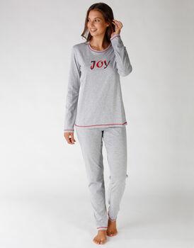Pigiama in jersey modello chiuso, grigio melange con patch in tessuto tartan, , LOVABLE