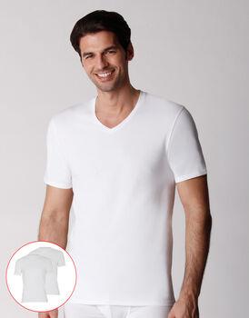 T-shirt scollo a V uomo in cotone biologico, confezione x2 bianco, , LOVABLE