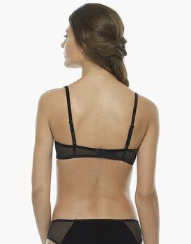 Reggiseno ferretto senza imbottitura, nero, in velluto elastico, balza pizzo elastico e tulle elastico, , LOVABLE