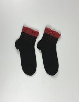 Calzini corti XMAS Lace, neri con bordo rosso, , LOVABLE
