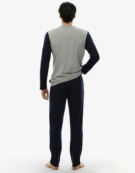 Pigiama manica e gamba lunga blu e grigio melange in jersey , , LOVABLE