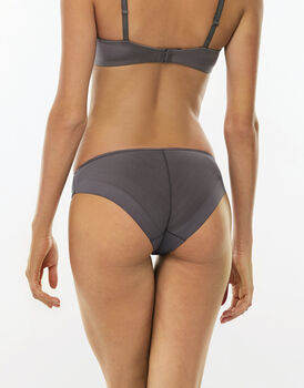 Slip 24H Feminine, grigio, in microfibra satinata e pizzo elasticizzato. Massimo comfort-LOVABLE