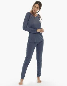 Pigiama manica e gamba lunga grigio scuro, in jersey modal con profili in raso, , LOVABLE