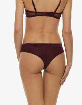Brasiliano Perfect Lace amaranto in pizzo elastico e microfibra-LOVABLE