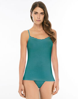 Top balzina sul collo Basic Soul, verde foglia di te, viscosa-LOVABLE