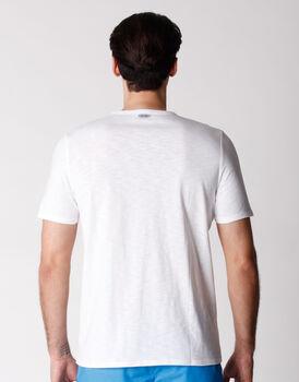 T-shirt uomo in tessuto fiammato tinto filo, bianco, , LOVABLE