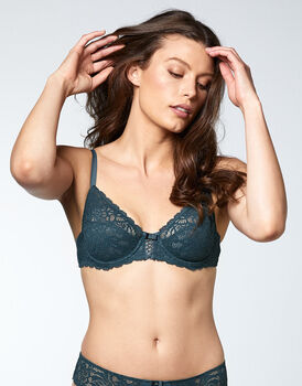 Reggiseno con ferretto Sublim, in pizzo green e microfibra, color verde, , LOVABLE