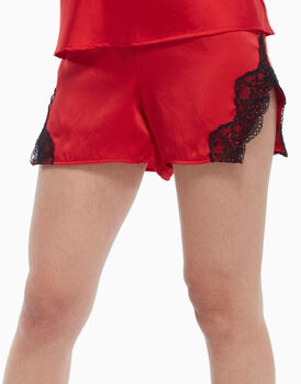 Short in raso e pizzo, nero e rosso, , LOVABLE