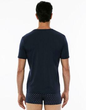 Maglia manica corta girocollo, blu navy, in cotone modal-LOVABLE