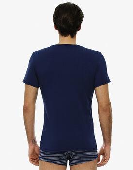 Maglia manica corta girocollo blu brillante in cotone elasticizzato-LOVABLE
