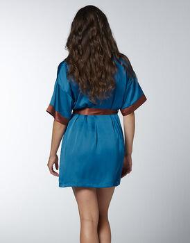 Kimono con manica corta Jungle Satin in satin, blu zaffiro, , LOVABLE