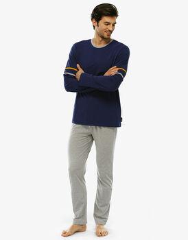 Pigiama manica e gamba lunga blu brillante in jersey con taschino-LOVABLE