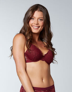 Reggiseno push-up in pizzo elastico, bordeaux, , LOVABLE