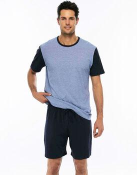 Pigiama manica e gamba corta rigato azzurro in jersey di cotone con coulisse in vita-LOVABLE