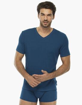 T-shirt manica corta petrolio in rib modal con scollo a V, , LOVABLE