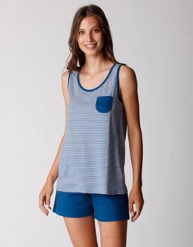 Pigiama smanicato gamba corta, in jersey di cotone, righe blu oltremare, , LOVABLE